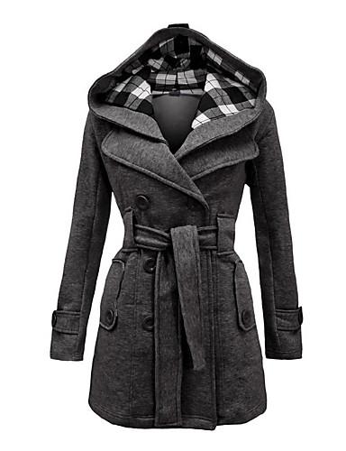 voordelige Damesjassen & trenchcoats-Dames Dagelijks Vintage Winter Grote maten Lang Jas, Ruitjes Capuchon Lange mouw Rood / Blauw / donkergrijs