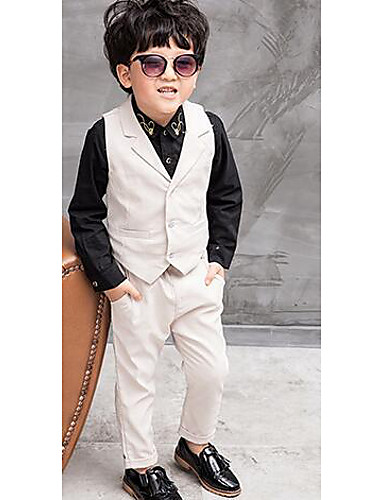 Jongens Formeel Effen Broek Kostuum & Blazer, Polyester Lente Herfst Lange mouw Wit Blauw