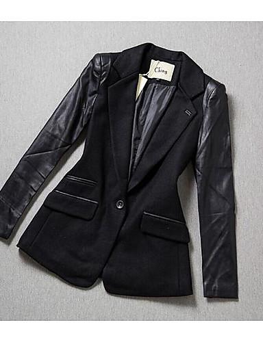女性 カジュアル/普段着 冬 ソリッド コート,シンプル ブラック ウール 長袖 ミディアム