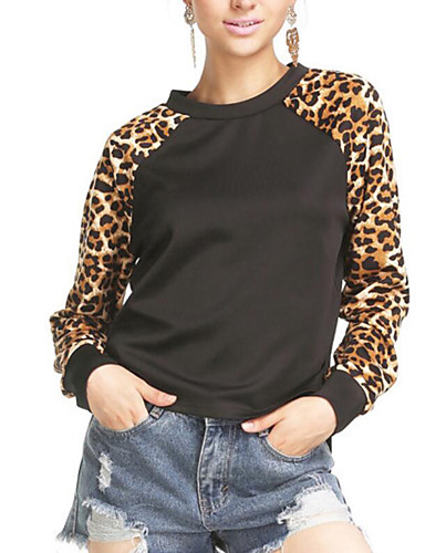 Women's Daily Casual Active Leopard Round Neck Sweatshirt Regular, Long Sleeves Winter Fall Cotton