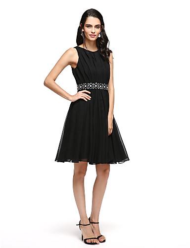 A-Linie Gekerbt Kurz / Mini Satin Cocktailparty / Abiball Kleid mit Schleife(n) Schärpe / Band durch TS Couture®