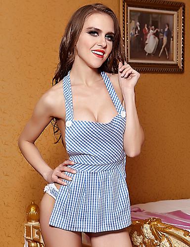 Feminino Super Sensual Roupa de Noite,Sensual Xadrez-Fino Algodão Azul