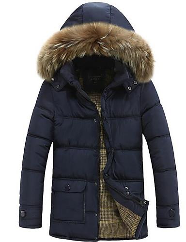 コート レギュラー ダウン メンズ,カジュアル/普段着 ソリッド ポリエステル ポリプロピレン-シンプル 長袖 フード付き