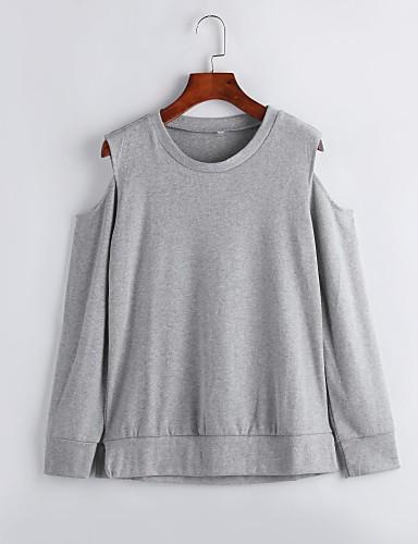 Langærmet Skulderfri Medium Kvinders Grå Ensfarvet Forår / Efterår Street Casual/hverdag T-shirt,Bomuld