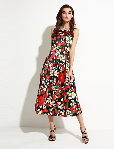 Damen Kleid-Hülle Einfach / Street Schick Blumen Midi Polyester Rundhalsausschnitt