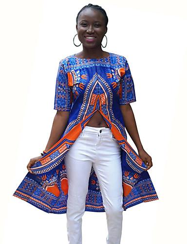 女性用 スリット プリント Tシャツ ストリートファッション