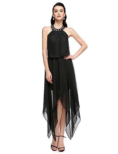 Tube / kolonne Besmykket Telang Chiffon Cocktailfest Kjole med Krystalldetaljer av TS Couture®