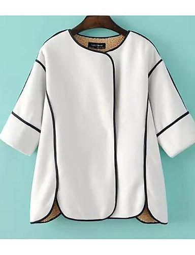 女性 カジュアル/普段着 秋 / 冬 ソリッド コート,シンプル ホワイト / ブラック コットン 七部袖 厚手
