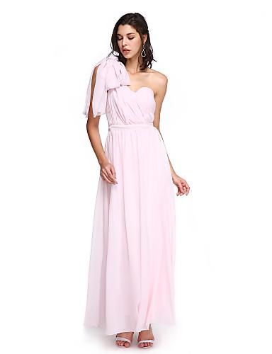 A-linje Kæreste Ankellængde Chiffon Brudepigekjole med Kryds & Tværs ved LAN TING BRIDE® / Konvertibel kjole