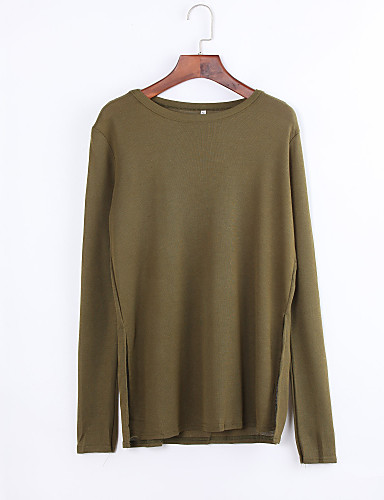 Vrouwen Eenvoudig Zomer / Herfst T-shirt,Casual/Dagelijks Effen Ronde hals Lange mouw Groen Polyester Ondoorzichtig