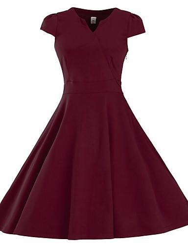 女性用 プラスサイズ ワーク シース ドレス - ラッフル プリーツ, ソリッド