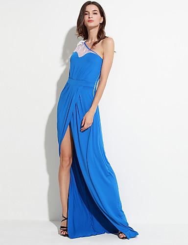 Kadın's Çan Elbise - Solid, Bölünmüş Tek Omuz Maksi