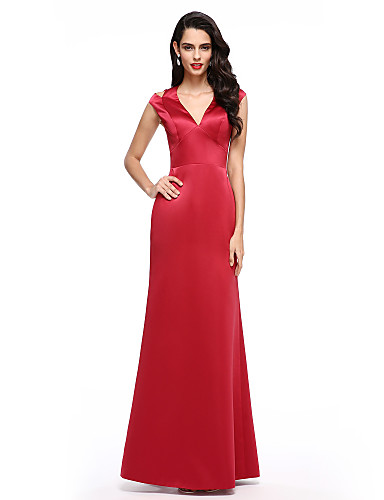 cheap Prom Dresses-A-Line V Neck Floor Length Satin Cocktail Party / Formal Evening Dress with Split Front by TS Couture®
