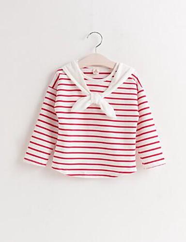 Casual/Dagelijks-Gestreept-Katoen-Lente / Herfst-Girl's-T-shirt-Blauw / Rood