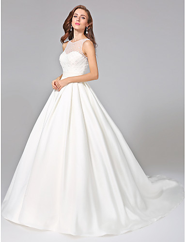 1e2fccc90d Ball Gown Bateau Neck Chapel Train Mikado Made-To-Measure Wedding Dresses  with Beading   Sash   Ribbon   Ruched by LAN TING BRIDE®   Open Back  5373341 2019 ...