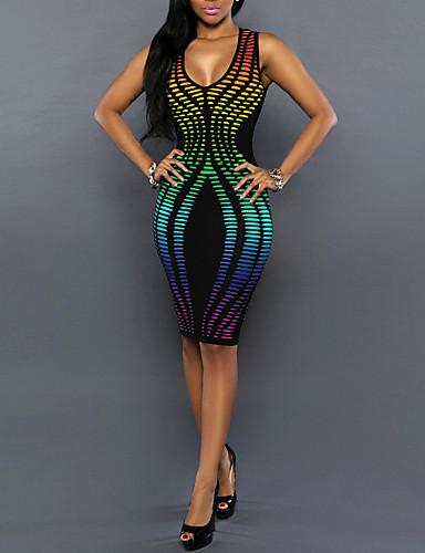 voordelige Sexy jurken-Dames Club Vintage Bodycon Jurk Print U-hals Tot de knie