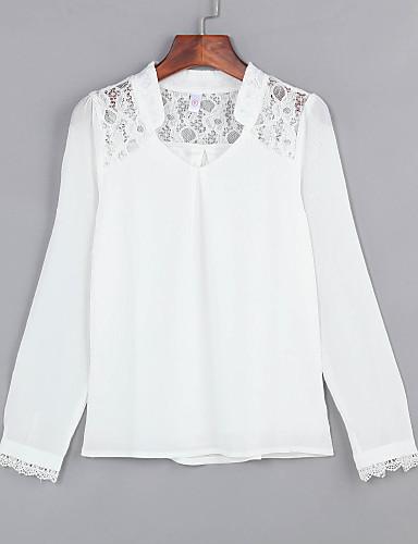 Damen Solide Übergrössen Bluse, V-Ausschnitt Spitze Ausgehöhlt Polyester