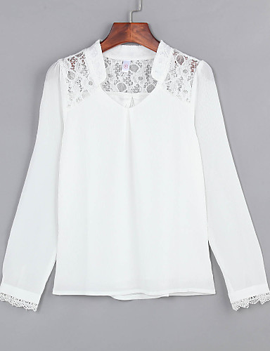 Damen Solide Übergrössen Bluse, V-Ausschnitt Spitze / Ausgeschnitten
