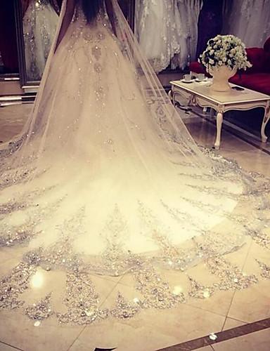 velos de catedral de velo de novia de una sola capa con accesorios de boda de red de encaje
