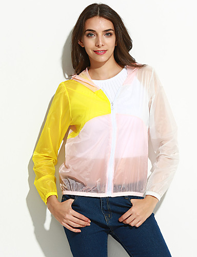 Vrouwen Eenvoudig / Street chic Zomer Blouse,Casual/Dagelijks Kleurenblok Lange mouw Blauw / Roze / Wit / Geel Nylon Doorschijnend
