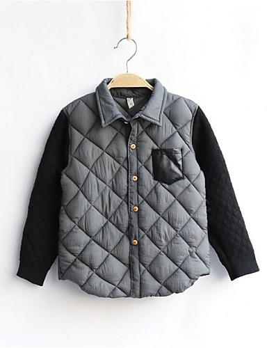 Gutt Fritid/hverdag Skjorte Fargeblokk Bomull Vinter Langermet Normal