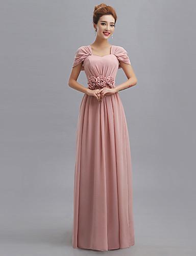 Bainha / coluna v-neck comprimento do chão chiffon vestido de dama de honra com venda de flores