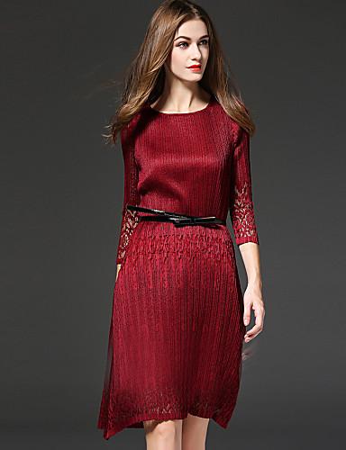 Sofisticado Vaina Vestido Un Color Sobre la rodilla / Otoño