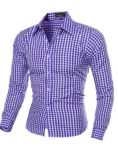 voordelige Uitverkoop-Heren Print Overhemd Ruitjes Klassieke boord Slank Marineblauw / Lange mouw