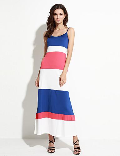 כתפיה ללא שרוולים פסים,שמלה מקסי נדן סגנון רחוב יומי בגדי ריקוד נשים