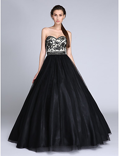 Ball Gown Sweetheart Neckline Floor Length Tulle Formal Evening Dress with Beading / Embroidery by TS Couture®