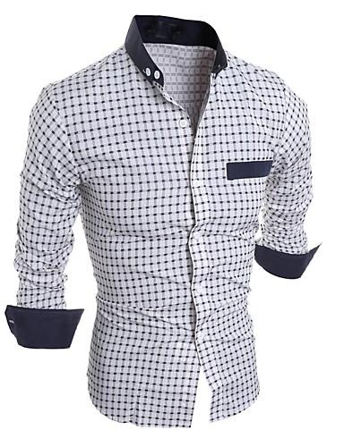 メンズ カジュアル/普段着 シャツ,シンプル スタンドカラー チェック コットン 長袖