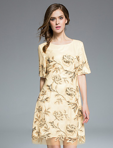 女性用 日常 アジアン・エスニック Aライン 膝上 ドレス, 刺しゅう 半袖 ラウンドネック