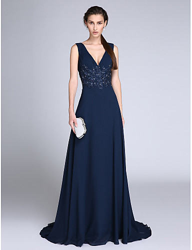 A-Line V Neck Sweep / Brush Train Chiffon Formal Evening Dress with Appliques / Ruched by TS Couture®