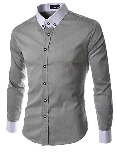Polyester Medium Langermet,Klassisk krage Skjorte Ensfarget Lapper Vinter Enkel Gatemote Ut på byen Fritid/hverdag Herre