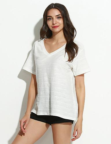 女性用 Tシャツ Vネック ソリッド