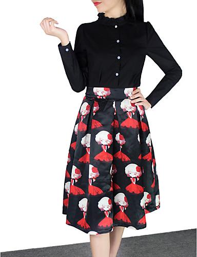 Naisten Vintage Seksikäs Katutyyli Polven yläpuolella Hameet,A-linja Bile Rento/arki Juhla/cocktail Painettu Kesä Puuvilla Akryyli