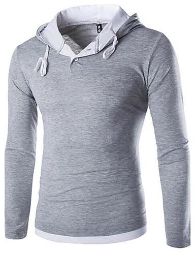 男性用 スポーツ Tシャツ 活発的 フード付き ソリッド コットン