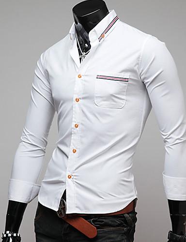 Polyester Blå / Hvit Medium Langermet,Klassisk krage Skjorte Ensfarget / Lapper Vinter Enkel / Gatemote Ut på byen / Fritid/hverdag Herre