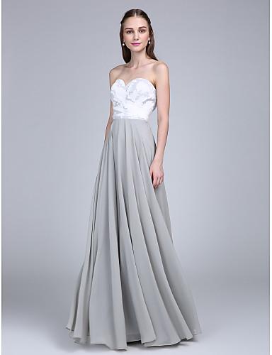 A-Linie Sweetheart Boden-Länge Chiffon Spitze Brautjungfernkleid mit Spitze Überkreuzte Rüschen durch LAN TING BRIDE®