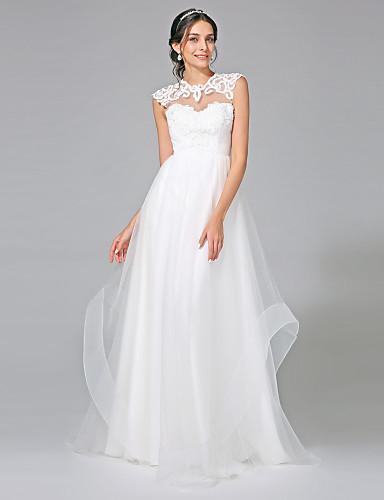 A-Linie Illusionsausschnitt Pinsel Schleppe Tüll Maßgeschneiderte Brautkleider mit Applikationen durch LAN TING BRIDE® / Rückenfrei