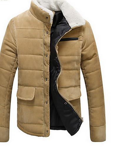 コート レギュラー パッド入り メンズ,カジュアル/普段着 ソリッド コットン ラムファー コットン-シンプル 長袖
