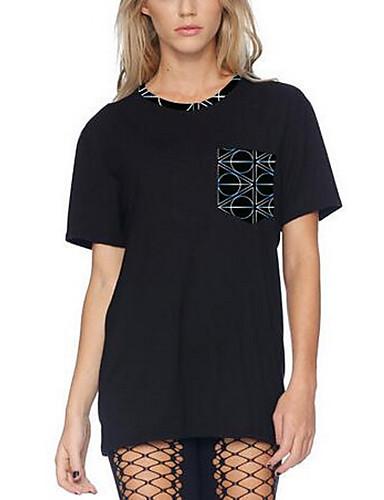 Bomull Kortermet,Rund hals T-skjorte Geometrisk Enkel Ut på byen Dame