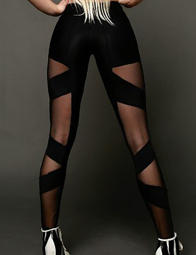 Mujer Deportivo Cruzado Legging - Un Color, Malla Media cintura