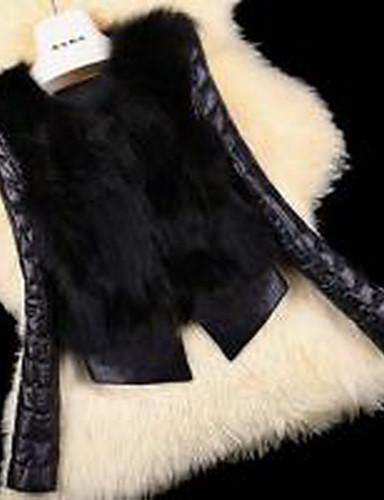 女性 お出かけ 冬 ソリッド ファーコート,セクシー Vネック ブラック フェイクファー 長袖 厚手