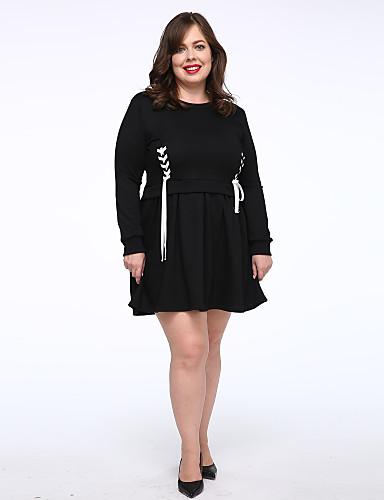 女性用 プラスサイズ Tシャツ ドレス ソリッド 膝上