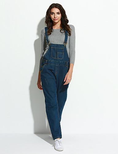 Feminino Moda de Rua Micro-Elástica Jeans macacão Calças,Sólido Outros Primavera