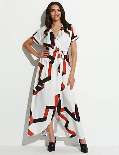 abordables Robes Femme-Femme Sortie Chic de Rue Maxi Balançoire Robe - Fendu Imprimé Col de Chemise Eté Blanc M L XL Manches Courtes