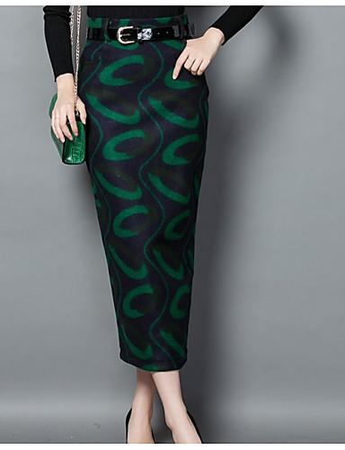 Damen Röcke,Bodycon DruckLässig/Alltäglich Mittlere Hüfthöhe Midi Knopf Polyester Micro-elastisch All Seasons