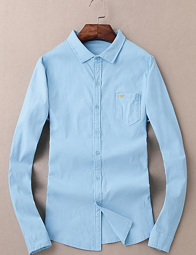 メンズ お出かけ 春 シャツ,シンプル ラウンドネック ソリッド コットン 長袖 薄手