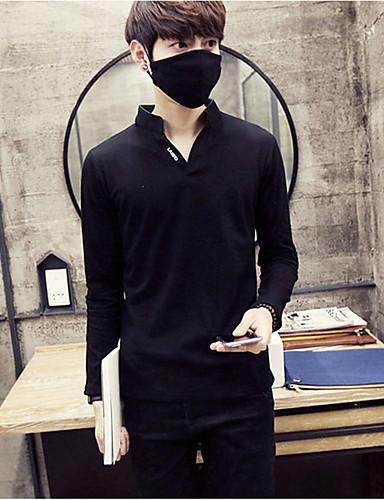 メンズ カジュアル/普段着 Tシャツ,シンプル スタンド ソリッド コットン 長袖 ミディアム